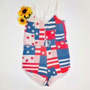 WILDFOX Swim US Flag Pool Patty Romper